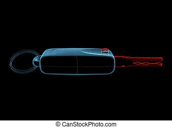 Car keys (3D xray blue transparent) - Car keys (3D xray red...