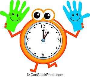 handy time - Mr clock man holding a happy pair of helpful...