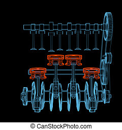 Crank shaft with pistons 3D xray red and blue transparent -...