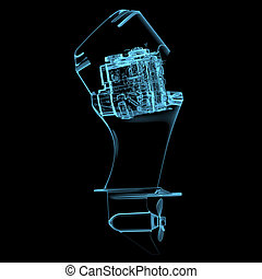 Boat engine 3D xray blue transparent - Boat engine 3D xray...