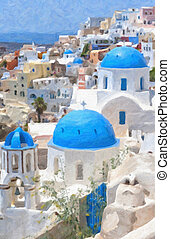 Santorini Oil Painting - A digital oil painting of a few of...
