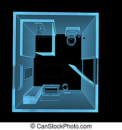 Bathroom 3D xray blue transparent - Bathroom 3D xray blue...