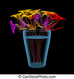 Gerber flowers in a bucket 3D xray multicoloured and blue...
