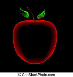 Apple (3D xray red and blue transparent) - Apple (3D xray...