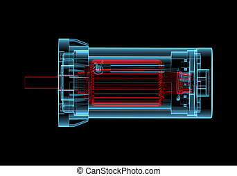DC Electric motor 3D xray red and blue transparent - DC...