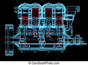 Internal combustion engine (3D xray red and blue...