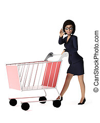 Business woman - character - 3d rendered toon character -...