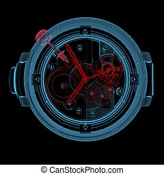 Wristwatch 3D xray red and blue transparent - Wristwatch 3D...