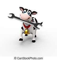 Funny cow character - 3d rendered toon character - funny cow