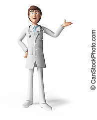 The doctor - 3d rendered toon character - the doctor