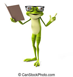 Green frog character - 3d rendered toon character - green...