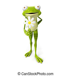 Green frog - 3d rendered toon character - green frog