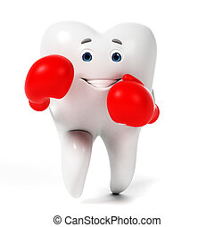 Funny tooth - 3d rendered toon character - funny tooth