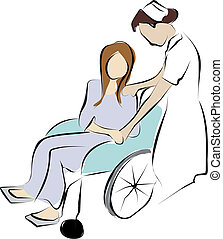 patient in wheelchair - nurse holding disable patient 's...