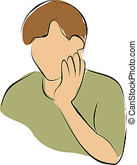 tooth ache - Man touch his cheek because pain from tooth...