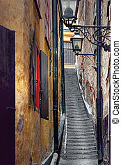 Narrow staircase in Stockholm - Narrow staircase in the old...