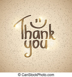 thank you - Thank You inscription, hand drawn vector...