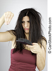 Gorgeous female model sic of loosing hair - Angry beautiful...