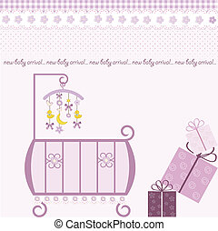 baby girl shower invitation in vector format