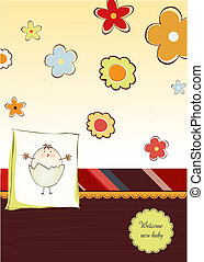 welcome baby card with chicken