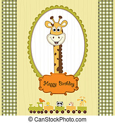 birthday greeting card with giraffe and animals train