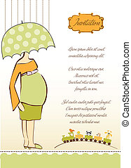 baby announcement card with beautiful pregnant woman