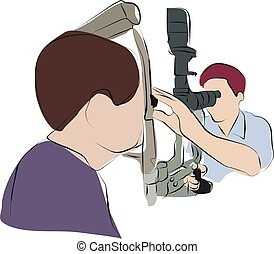ophthalmologist is checking eye for patient