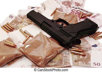 drug money 13 - a stash of drugs gun and money showing a...