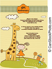 anniversary card with giraffe and girl