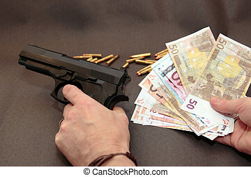drug money 9 - concept of a drug deal or gun hire going down...