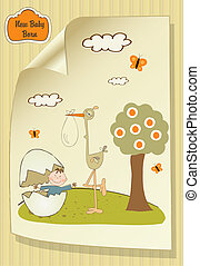 Welcome baby card with broken egg and little baby