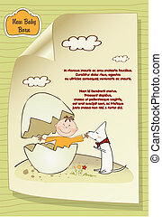 welcome baby card with broken egg ad dog