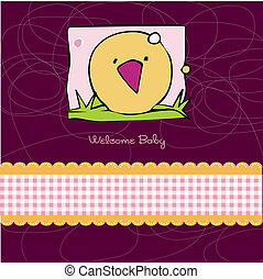 Birth card announcement with kitchen