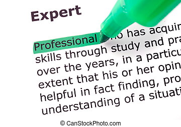 The word Expert highlighted in green with felt tip pen