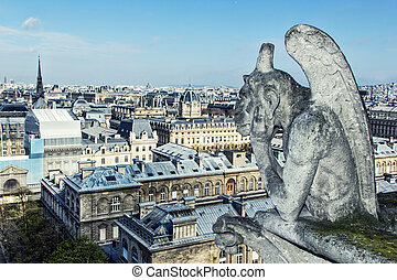 Gargoyle of the roof of Cathedral Notre Dame
