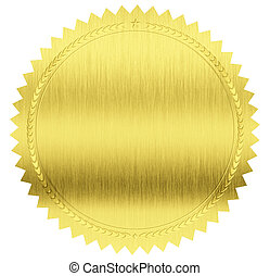 gold seal label with clipping path included