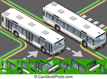 Isometric Bus in Front View - Detailed illustration of a...