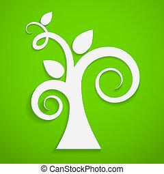 Eco icon. Paper tree