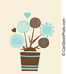 Decorative Flowerpot - Card illustration with decorative...