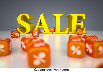 Sale sign with percentage dice