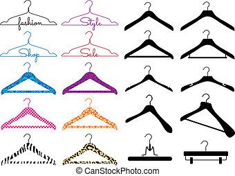 clothes hanger, vector set - set of different clothes...