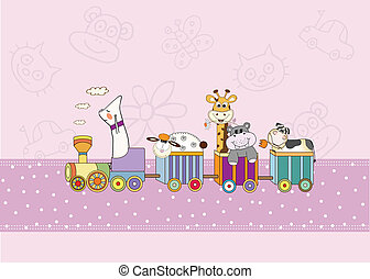 new baby announcement card with animals train
