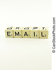 Email written together - A close-up view of the word email