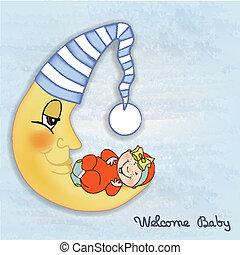bebê, Chuveiro, cartão
