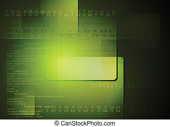 Vector technology background with binary program code