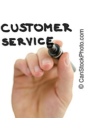 Detail of male hand writing phrase customer service on a virtual screen. Over white background.