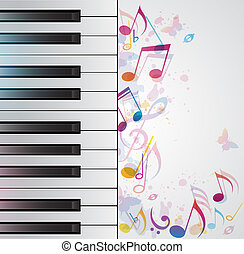 Music background with piano - Vector music background with...