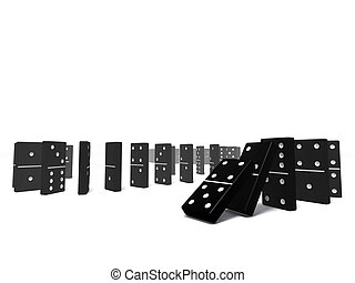 domino blocks - An isolated black domino blocks chain...