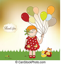 thank you card with girl,