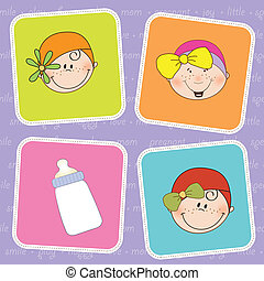 cute greeting card with small girl